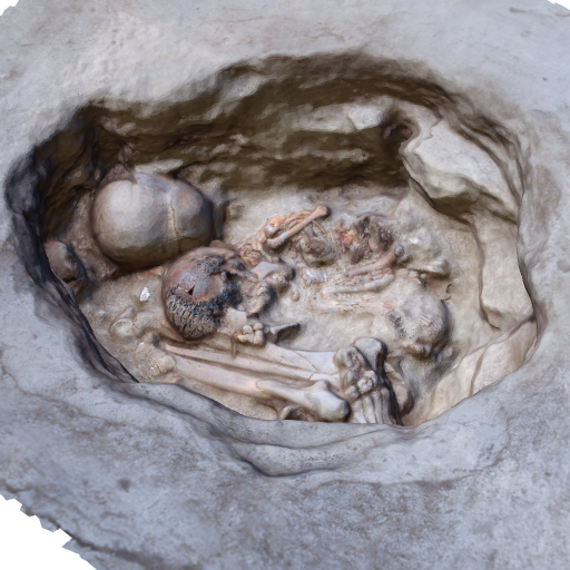 Multiple burial in Building 52 (Click to view in 3D)