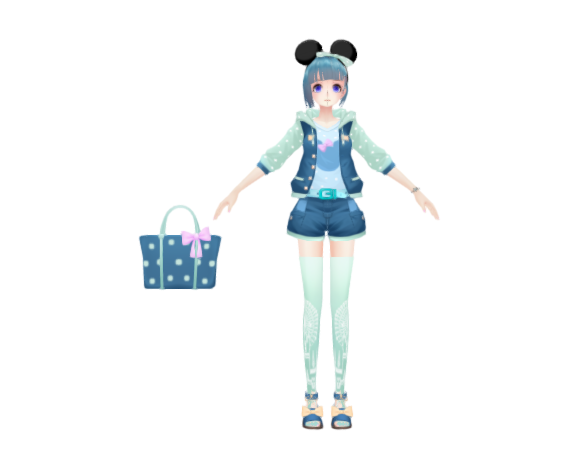 anime girl in Disney costume with mickey ear