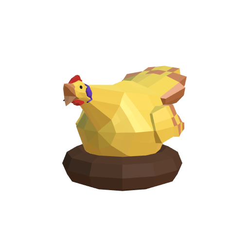 low poly hen